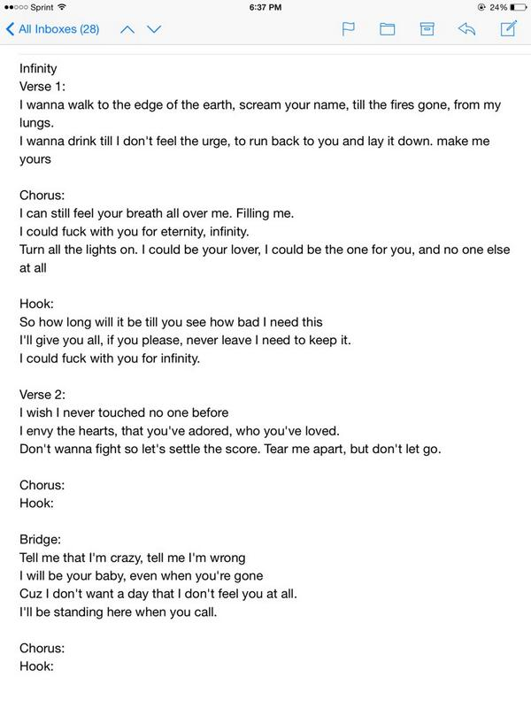 Niykee On Twitter These Are The Correct Lyrics For Infinity For