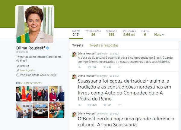 Com dois disparos pelo Twitter, Dilma assassina o sobrenome de Ariano Suassuna http://t.co/AdefCcRSUU http://t.co/Gsef9YgsQj