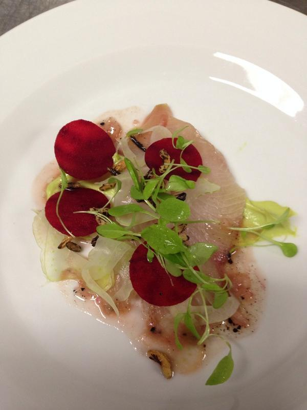 Beautiful 2nd course kingfish, avocado, buttermilk & pepper berry @djrobertson #VarietyofChefs http://t.co/uNebGdmKHZ