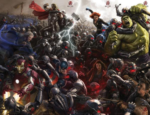 The Avengers fully assemble in the completed Age of Ultron poster! #SDCC http://t.co/Z9aOF8Duw2