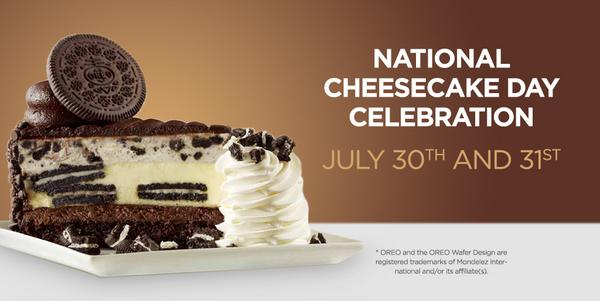 This couldn't get any sweeter: Any Slice, Half Price on 7/30 & 7/31!#NationalCheesecakeDay http://t.co/LYRWuKENIm