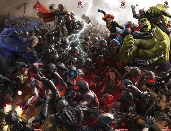 Full concept art picture for Avengers:Age of Ultron!  Very niceeeee #MarvelSDCC #Marvel I want this as a poster. http://t.co/3CI8q4LWue