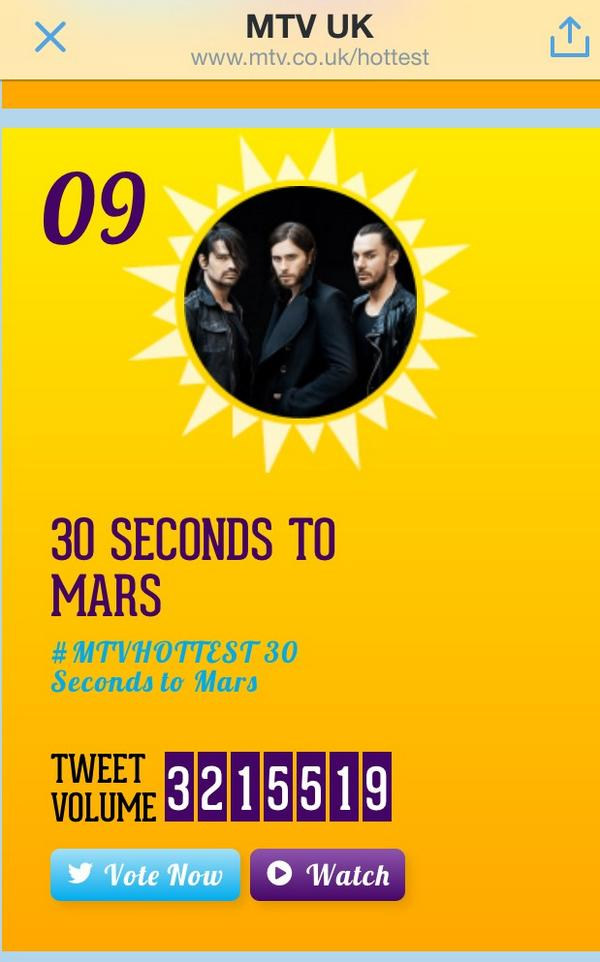 #MTVHOTTEST 30 Seconds to Mars http://t.co/Y2aDHNKbqo come on #Echelon No9 is not good enough VOTE http://t.co/9Hi2cTeNA6