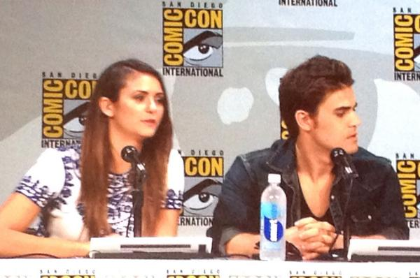 The gorgeous Nina Dobrev and Paul Wesley. #TVD #WBSDCC http://t.co/hBwrlgFwMp