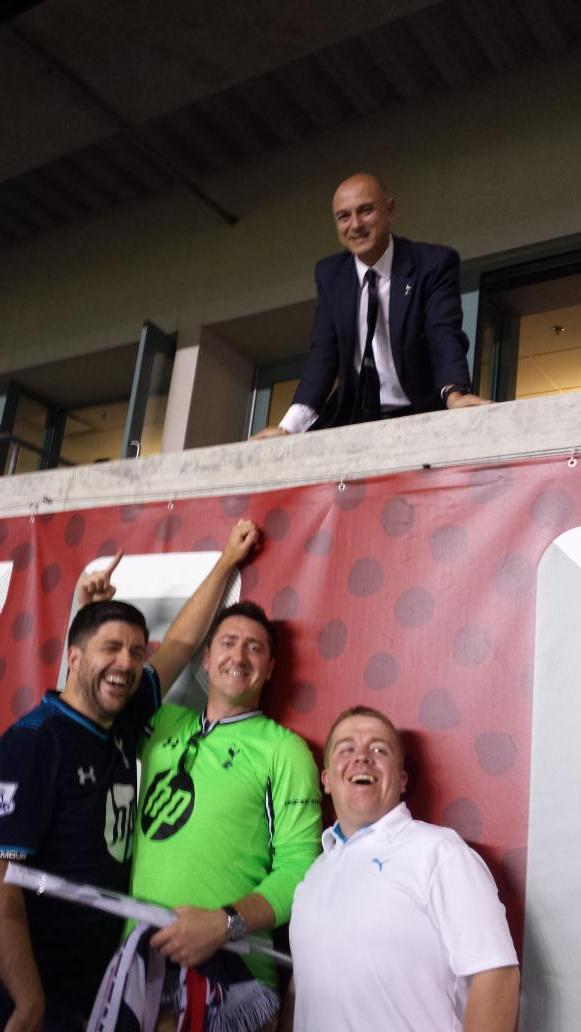 Worlds Apart: Tottenham chairman Daniel Levy takes a interesting photo with fans