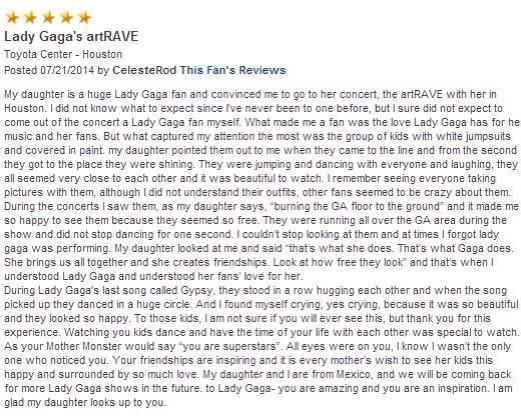 #MTVHottest Lady Gaga RT @gagamonster96: touching review of Lady Gaga's artRAVE by a mother who converted into a fan http://t.co/Dh7TWwe18c