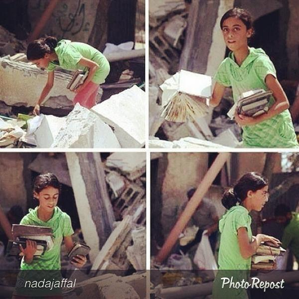 "by @nadajaffal ""A girl in #Gaza looking for her books under the rumble of her demolished home.. #gazaunderattack http://t.co/HxkgjDCRRL"