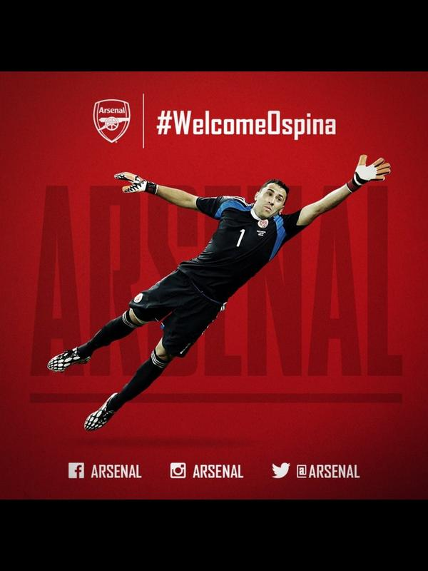 Welcome to @Arsenal #Ospinas another great signing, keep them coming #Wenger #WelcomeOspina http://t.co/4bE121IbrB