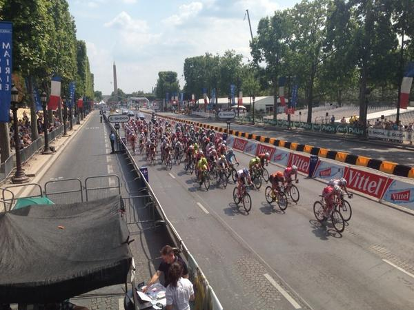 Thrilled to see the women racing on the Champs today on the last day of the Tour. #tdf14 http://t.co/G34HcM1qJR