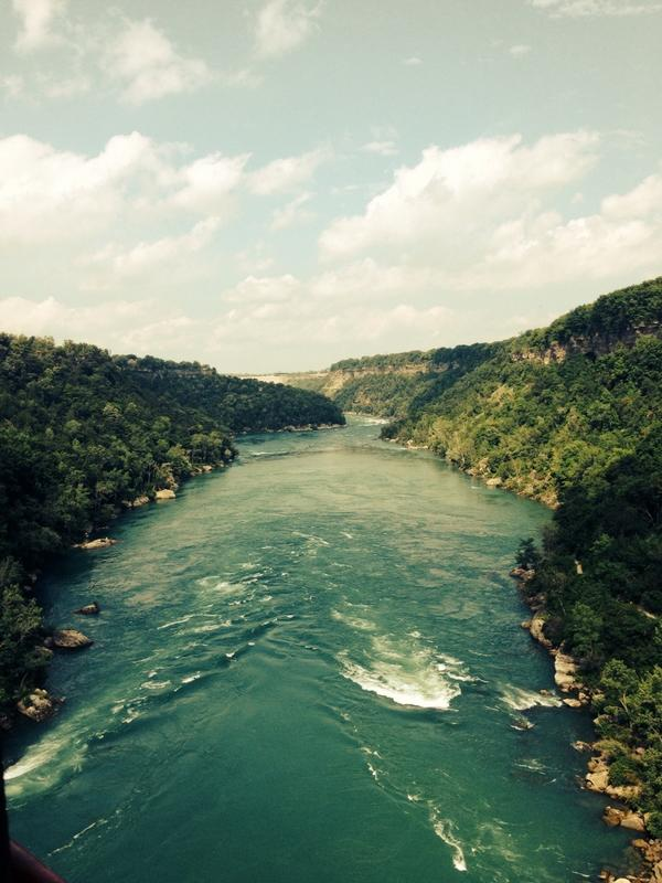 The mighty Niagara river at her tamest. View from #whirlpoolaerocar @niagaraparks #niagarafalls http://t.co/wOSFdeyh6i
