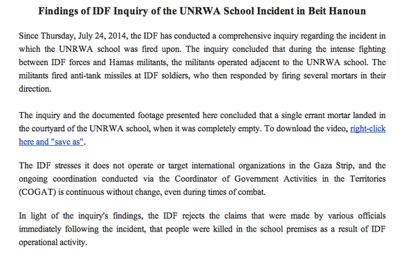 Read this IDF statement on UN school being hit: http://t.co/1TG1SjSZlG  Then watch this video of the aftermath: http://t.co/uT0Anb1ByC