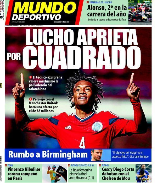 Man United to lodge a €38m bid for Fiorentinas Juan Cuadrado, Barca also in the hunt [Mundo Deportivo]