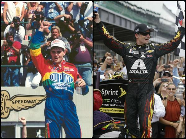 Jeff Gordon becomes the 1st #NASCAR driver to win the same race 20 yrs apart. #Brickyard400 @IMS http://t.co/oZQuwZaC6p