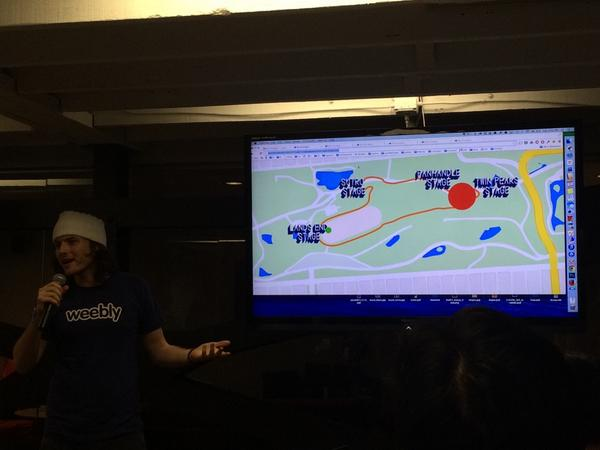 Most entertaining preso: Dance Compass. Find out where the party is during the fest & get there #OutsideHacks http://t.co/UZp0cn8bVH