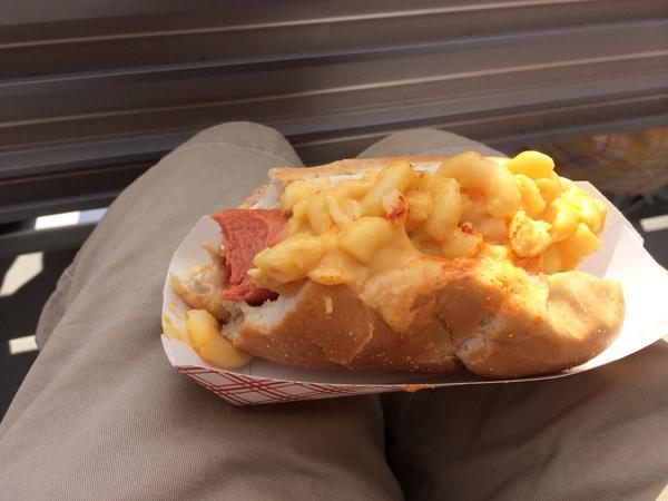 Had to try the #BigBoyDog at #HillsboroHops game. #MacAndCheese #Hotdog