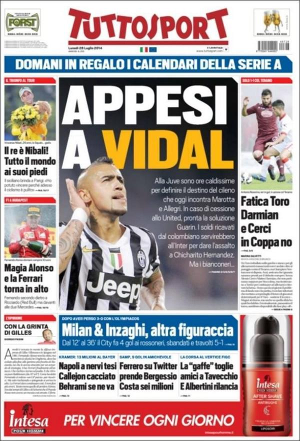 If Juve sell Arturo Vidal to Man United, Turin giants want Inters Fredy Guarin & Chicharito [Tuttosport]
