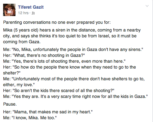 Conversation between my wife and my daughter about children in #gaza. http://t.co/Z9tbaROHS6