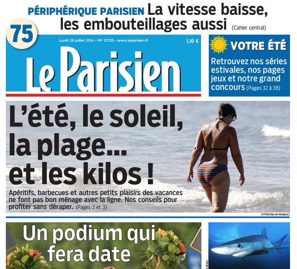 La personne à la une du Parisien doit être RA-VIE. http://t.co/2ZXBVJAEmN