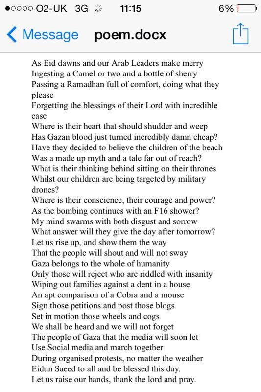 @yvonneridley Ameen a poem written last night for all those living in occupation #Gaza #EidMubarak http://t.co/Lgv8l3QiWg