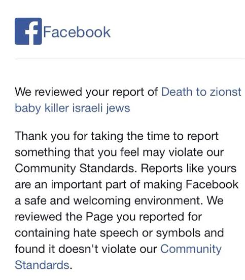 "RT @philipaklein: Facebook email explaining that page ""Death to zionst baby killer israeli jews"" does not violate ""community standards"" htt…"
