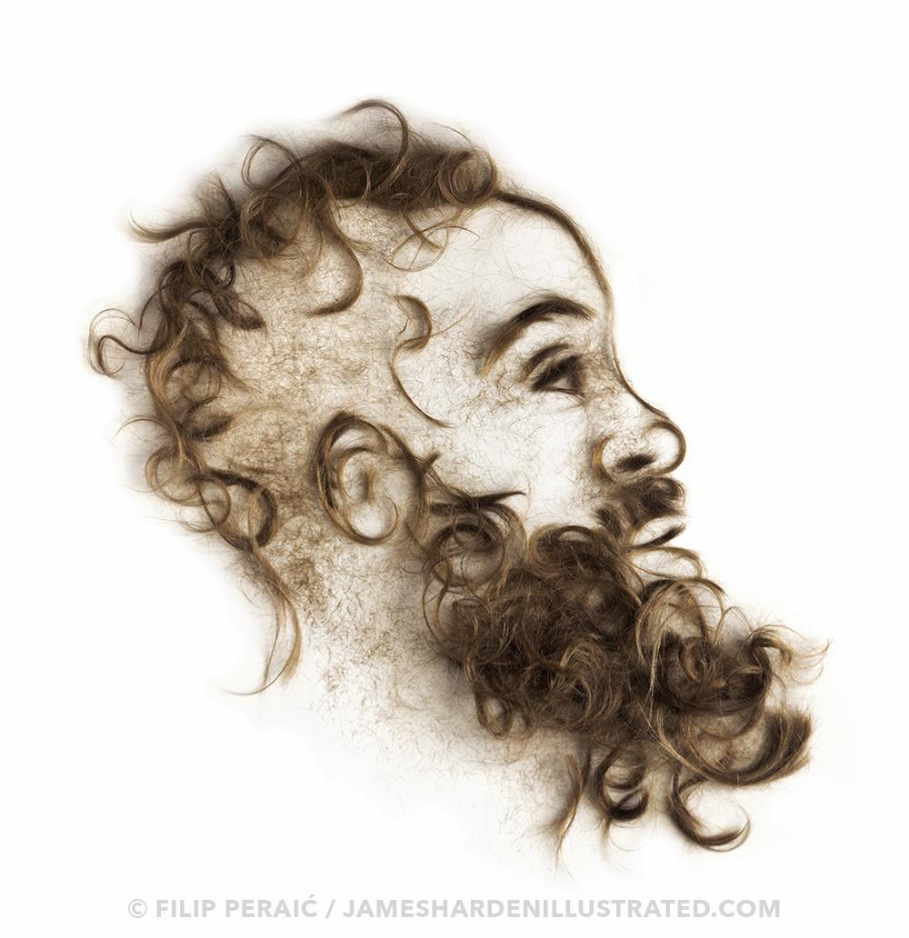 Artist Makes Cool Portrait Of Harden Out Of Hair Photo Sports