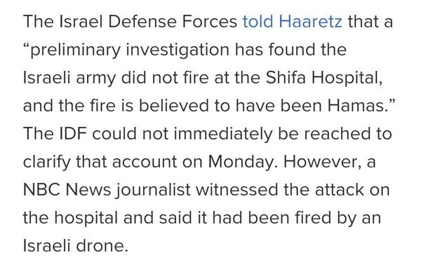 Before: NBC blames Israeli drones for firing on Shifa Hospital.