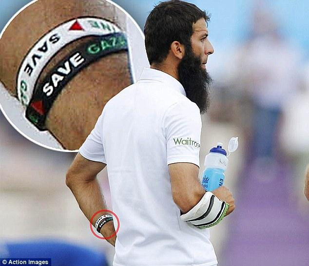 Great batting by England but I suspect Moeen Ali's wristbands will be the big story tonight. #Palestine #Gaza #Ageas http://t.co/qHMlErWsJJ