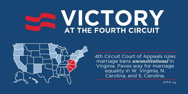 BREAKING: 4th Circuit Court strikes down marriage bans in VA, WV, NC, SC http://t.co/ih7sFW9JJe @AFER http://t.co/TM4rGeXgbQ