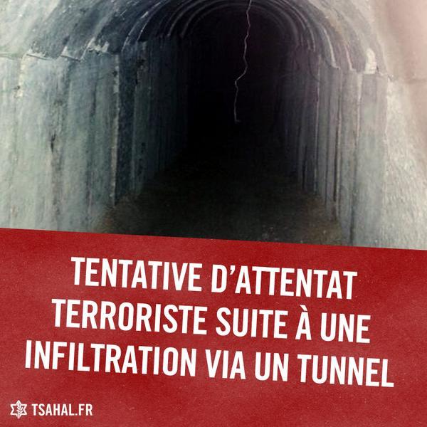 Ce soir, des terroristes ont infiltré Israël via un tunnel dans le but de mener un attentat contre des Israéliens