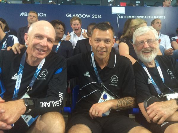 Royal photobomb alert! Prince Harry w/ our Prof. Emeritus Gary Hermansson at #Glasgow2014 ^KC http://t.co/KexJtEvrDG