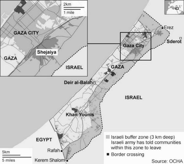 The area of Gaza that Israel  ordered evacuated / is bombing is 44% of the entire Gaza strip. http://t.co/2FplRoWk1Y http://t.co/649IIJ3RiV