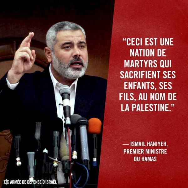 Ismail Haniyeh est le Premier ministre du Hamas, une organisation terroriste qui appelle à la destruction d'Israël