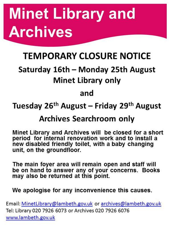 Minet Library temporary closure notice