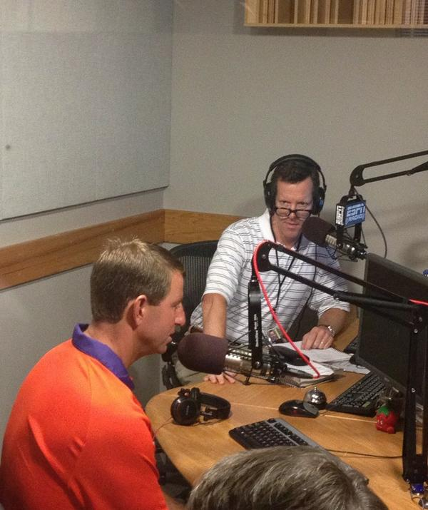 Coach Swinney kicking off #ESPNACC car wash with @Ivan_Maisel podcast for ESPNU. http://t.co/JYwXhcRLwQ