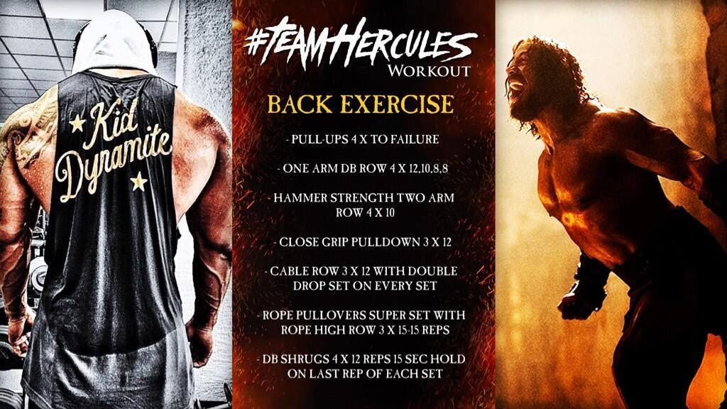The Rock's workout plan being shared on twitter for the Hercules movie
