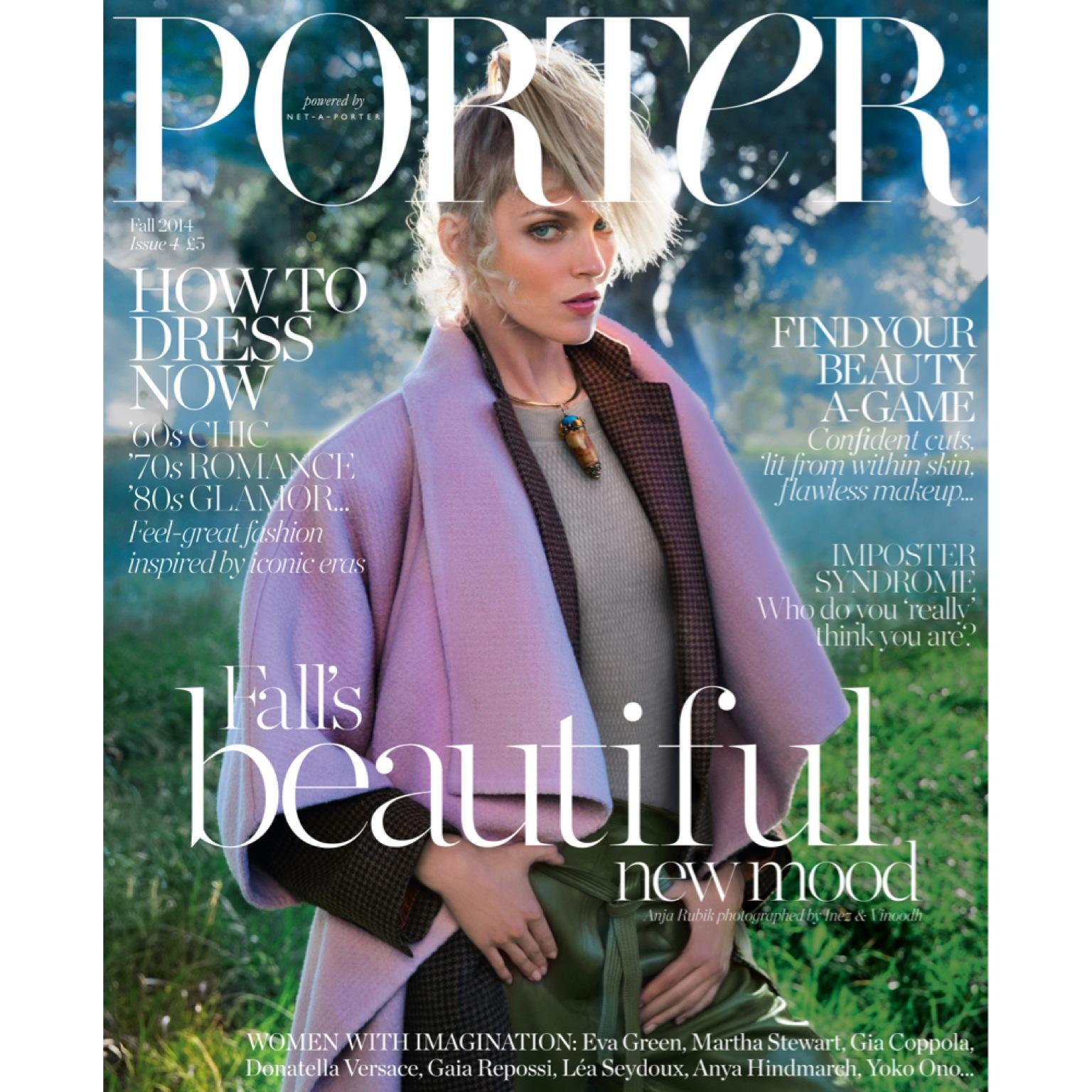 RT @PORTERmagazine: COVER REVEAL: The enigmatic @anjarubikblog leads #PORTERmagazine issue 4, available from Friday, August 1. http://t.co/…