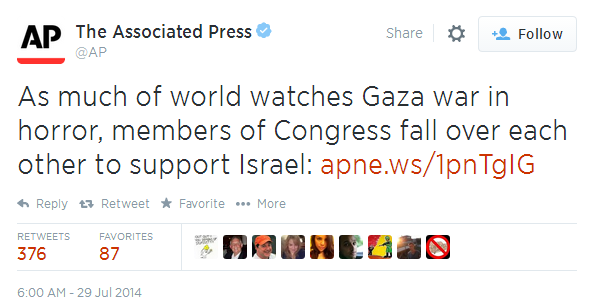 Associated Press tweet: Congress fall over each other to support Israel