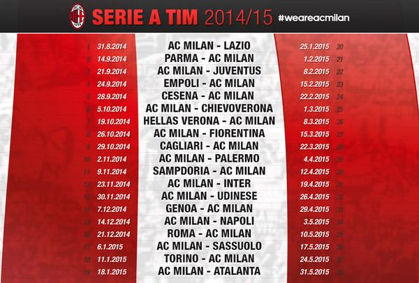 Ac Milan Calendario.Ac Milan On Twitter Don T Miss Any Of Our Seriea Tim