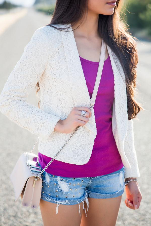 This weekends perfect outfit a fuchsia tank & pretty lace blazer from @LOFT with edgy shorts - http://t.co/pPD8ISEVsx http://t.co/BtX7PaGeZ7