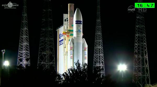 #ATV5 #ESA #ISS #NASA - Live shot via @ESA of Ariane 5 on the launch pad http://t.co/QYkegoSbDP
