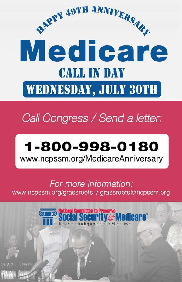 Tmrow, #Medicare turns 49! Help us celebrate by calling your Member of Congress & telling them NO cuts to Medicare: http://t.co/6LQ8AS5Iyn