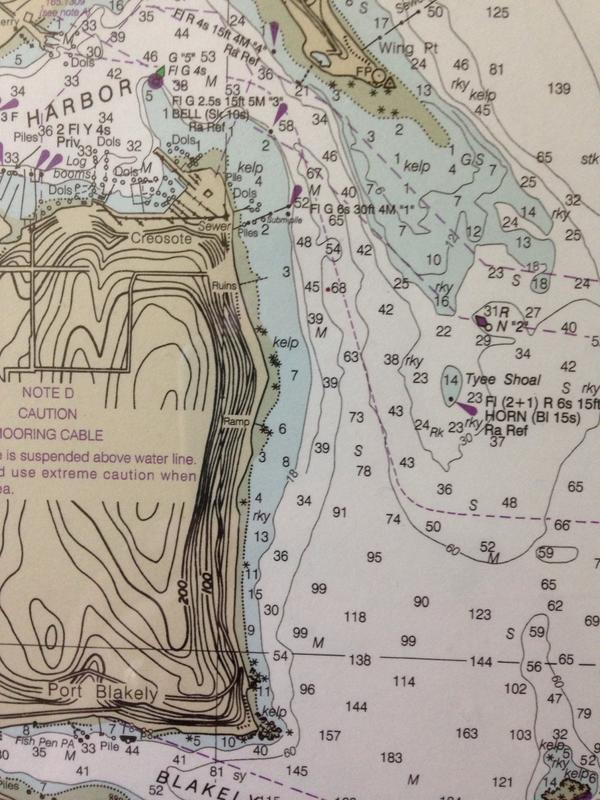 Nautical chart of area near Tacoma's current position (Seattle to Bremerton chart, courtesy my bedroom wall). http://t.co/FHGMRb0hR6