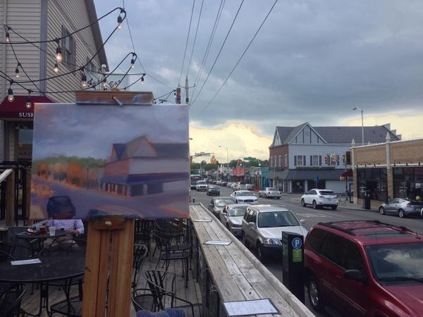 Painting the @Broad_Ripple strip from the patio at @TritontapBR - perfect evening to be out painting!! http://t.co/OOfsRqXoZY