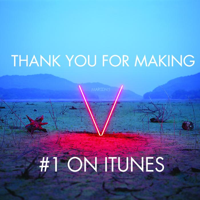 "Our fans are the best! Thank you for making ""V"" #1 on @itunesmusic! #albumV http://t.co/jm5xm6Ozka"