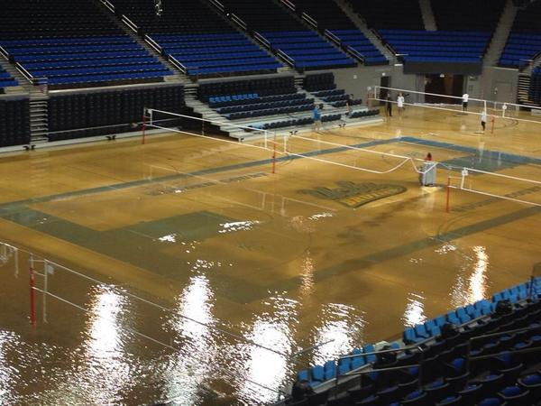 Pauley Pavilion was renovated a couple years ago. Look at it right now. Court likely ruined. http://t.co/mJuEUzDLXY