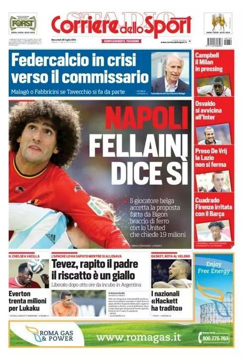 Marouane Fellaini has already met Napoli to seal his move from Man United [CdS]