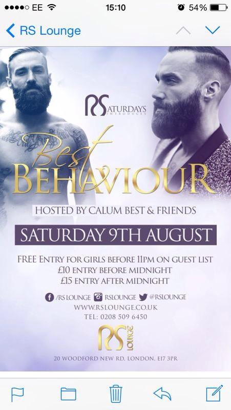 Saturday 9th aug join me at @RSLOUNGE Essex #bestbehaviour http://t.co/P6Vy77FIZI