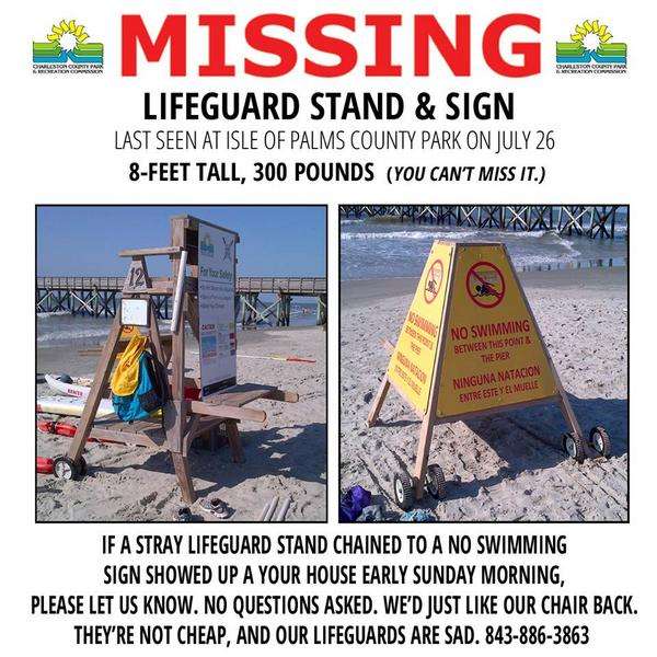 Who stole a @ChasCountyParks lifeguard chair from #IOP, and why? http://t.co/JeaQKLxCYG http://t.co/hhuIUKnloh