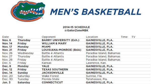 Gators Basketball Schedule >> Gators Men S Basketball On Twitter The Gators 2014 15 Non