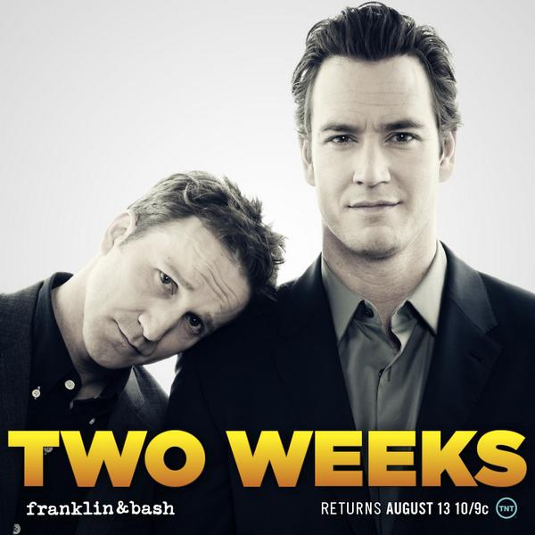 TWO WEEKS until #FranklinandBash is back on August 13th! Introducing our main marketing strategy: puppy dog eyes. http://t.co/pxRAc9EpHX